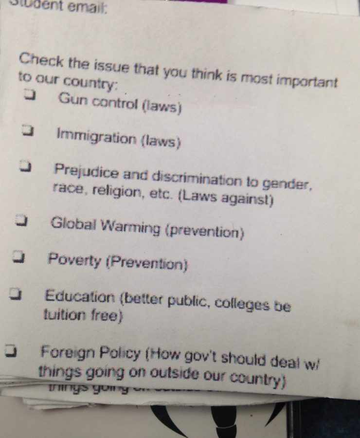 The Issues: What do MMS students think is the most important issue that affects our country?