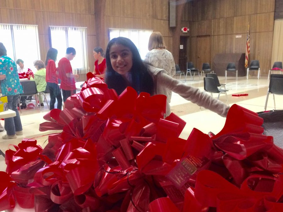 The P2P 7th grade PeerLeader group set up red ribbons around town for Red Ribbon Week  (Photo: Mrs. Arruda)