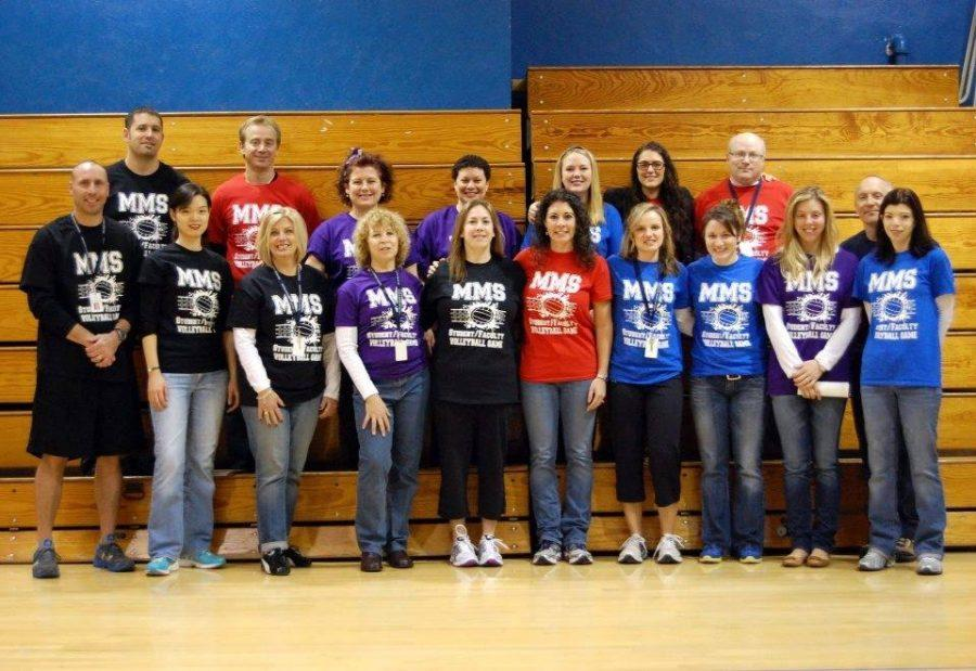 A+faculty+team+photo+from+the+original+Student-Faculty+Volleyball+Game+%28Mrs.+Detore%29