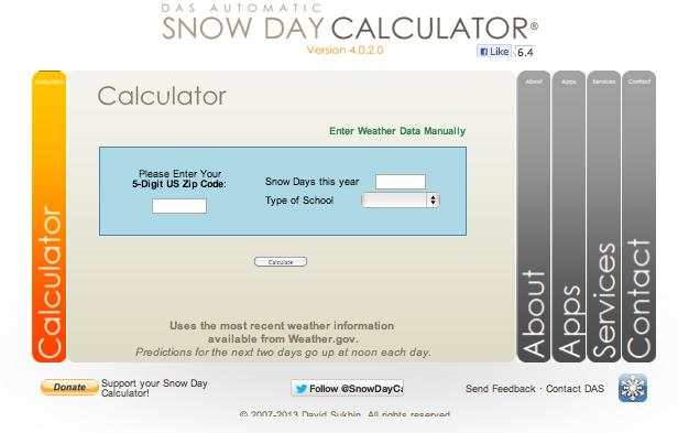 The Snow Day Calculator homepage