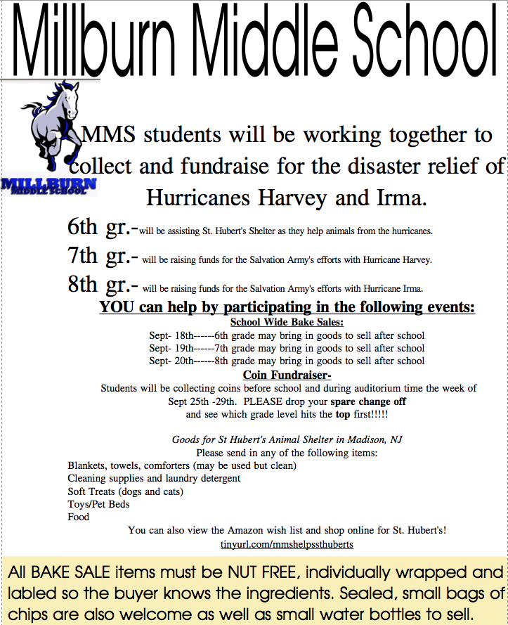 Millburn+Middle+School+Organizes+for+Hurricane+Relief
