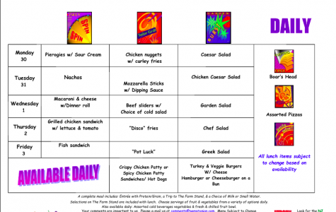 Lunch Menu: October 30 – November 3