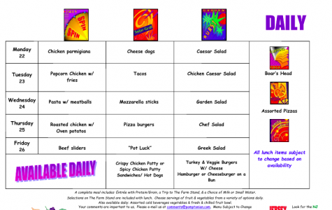 Lunch Menu:  Mon. Jan. 22 – Fri. Jan. 26