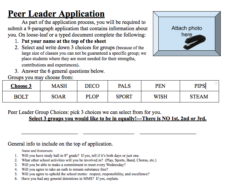 7th Graders: Your Peer Leader Packet Information is Here!